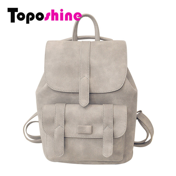 Toposhine Famous Brand Backpack Women Backpacks Solid Vintage Girls School Bags for Girls Black PU Leather Women Backpack 1523-Women's Backpacks-Enso Store-Gray-W23H29D13 CM-Enso Store