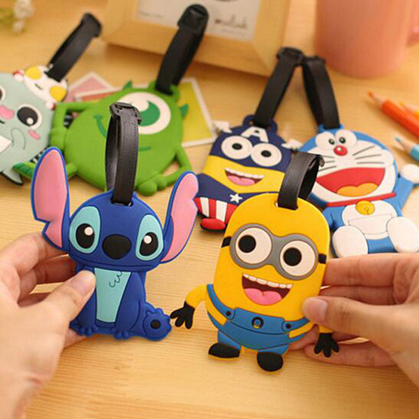 Travel Accessories Luggage Tag Suitcase Cartoon Style Cute Minions Cat Fashion Silicon Portable Travel Label - EnsoStore