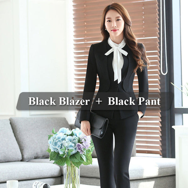 Two Piece Ladies Formal Pant Suit Office Uniform Designs Women Business  Suits Red Blazer For work ed3df8f95bfb
