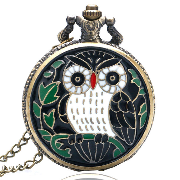 Vintage Bronze Black Owl Quartz Pocket Watch Clock Necklace Pendant Womens Men Christmas GIfts Relogio De Bolso P910-Pocket & Fob Watches-Enso Store-Enso Store