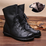 Vintage Style Genuine Leather Women Boots Flat Booties Soft Cowhide Women's Shoes Front Zip Ankle Boots zapatos mujer - EnsoStore