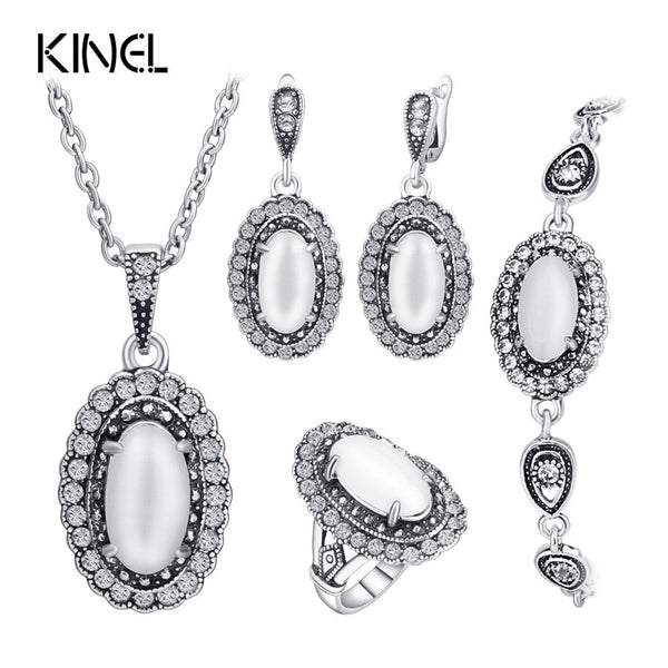Vintage Wedding Jewelry Set Color Ancient Silver 4Pcs/Sets White Opal Ring/Necklace/Bracelet And Earring For Women Valenti - EnsoStore