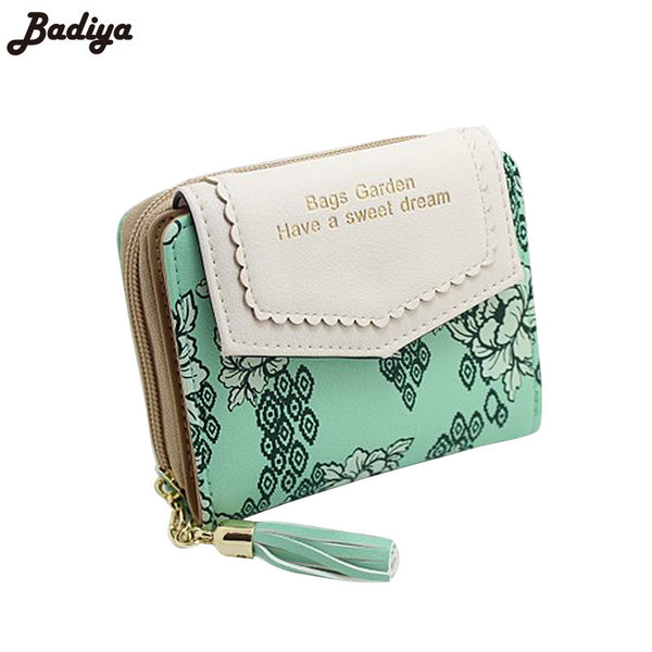d88969696a29 Vintage Women Floral Small Wallet Sweet Female Purses Bifold Flower  Carteira Feminia Tassel Purse For Gift ...