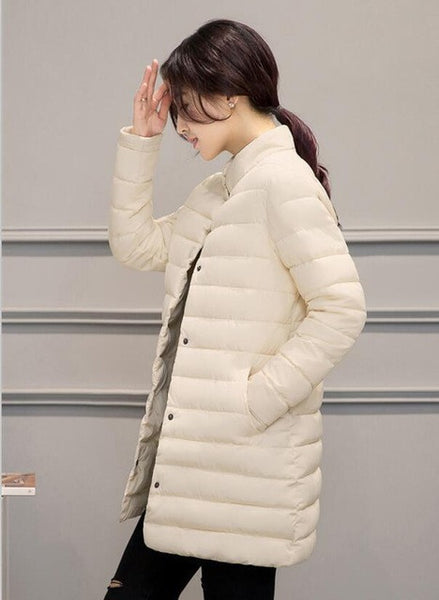 Wadded jacket thin medium-long fashion winter coat women stand collar down cotton-padded parka casual outerwear girls clothing-Enso Store-Beige-S-Enso Store