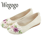 Wegogo Women Flower Flats Slip On Cotton Fabric Casual Round Toe Oxford Ballet Shoes Woman Linen ballerina Flat Plus Size 42 - EnsoStore