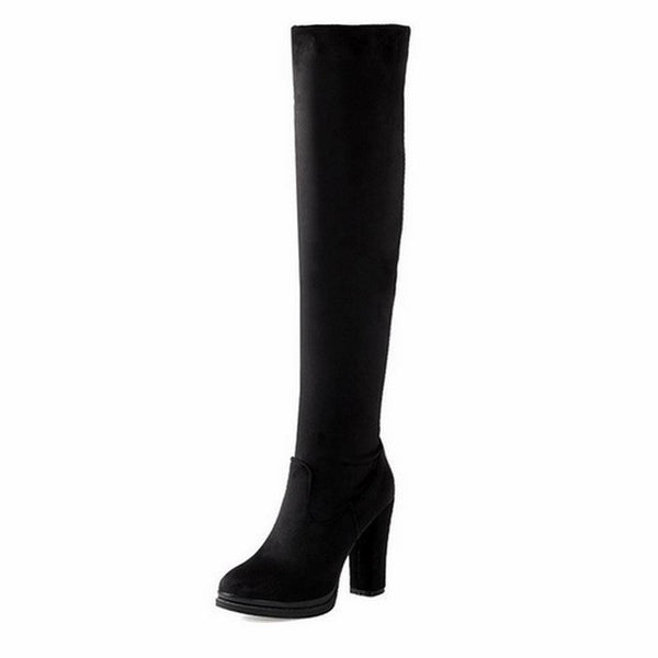 WETKISS Fashion Women Over The Knee Boots Sexy Flock High Thick Heels Platform Round Toe Riding Boots Fashion Women Shoes 34-43-Women's Boots-Enso Store-Black-4-Enso Store