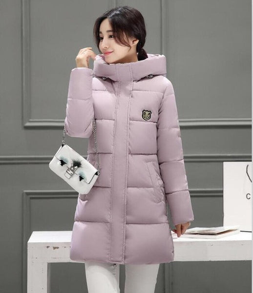 White Winter Coat Women 2017 Hot Sale Long Parka Fashion Students Slim Female Clothing Plus Size S-2XL Thick Jackets-Enso Store-Lotus color-S-Enso Store
