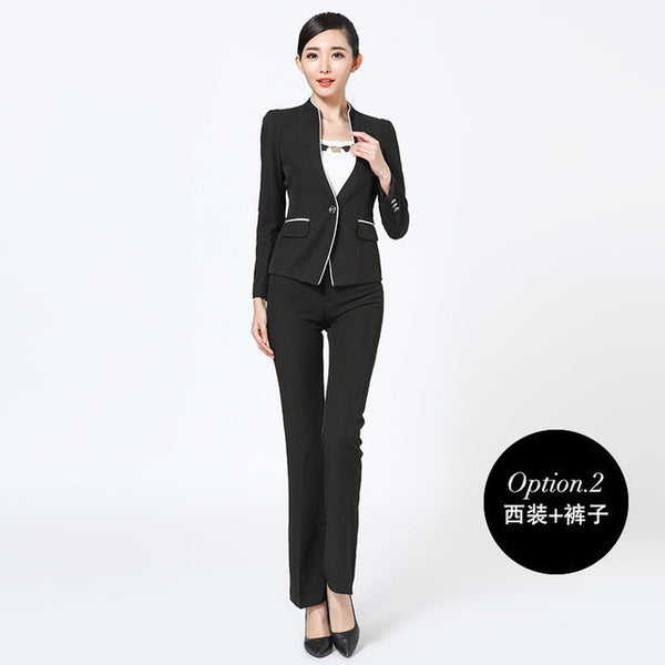 Winter slim work wear women trouser jacket OL fashion formal blazer with pant set plus size office business suit pants female-Enso Store-black coat and pants-S-Enso Store