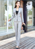 Winter slim work wear women trouser jacket OL fashion formal blazer with pant set plus size office business suit pants female-Enso Store-Gray coat and pants-S-Enso Store