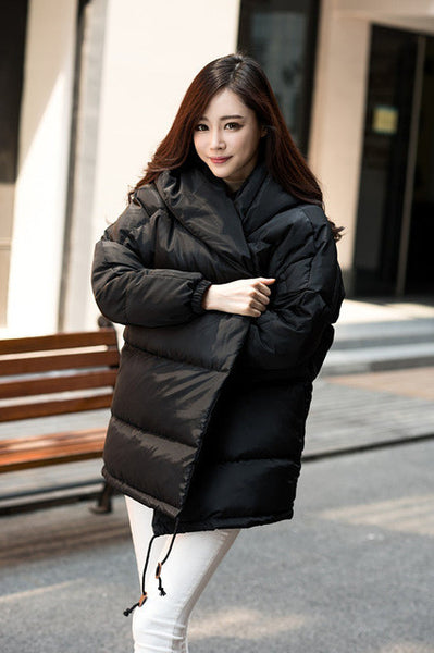 winter women loose fit coat fashion cute parkas hooded jacket overcoat medium casual plus size duck down overcoat snowear-Enso Store-Black-S-Enso Store