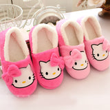 Winter Women Slippers with heels Cartoon Cotton Slippers Indoor Home female Shoes Plush Loafers sandals fenty slides-Women's Shoes-Enso Store-Pink-6-Enso Store