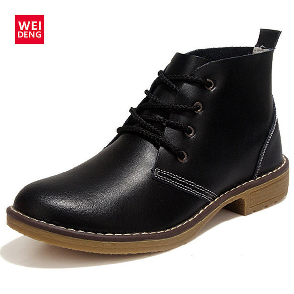 Women Ankle Boots Fashion Outdoor Winte Lace up Genuine Leather Classic Military Botas High Top Casual Waterproof Shoes Big Size-Women's Shoes-Enso Store-Black-10.5-Enso Store