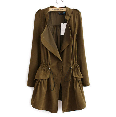 Women autumn office long trench plus size full sleeve drawstring Waist coats casaco feminine casual streetwear tops CT1089-Enso Store-Army Green-L-China-Enso Store
