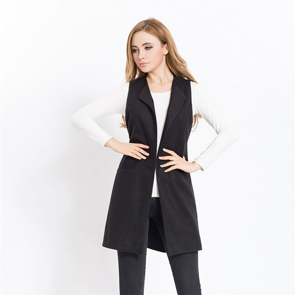 Women Autumn Spring Wool Blend Vest Waistcoat Lady Office Wear Long Waistcoat Women Coat Casual Sleeveless Vest Jacket Plus Size-Enso Store-Black-S-Enso Store
