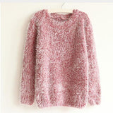 Women Fashion Autumn Winter Warm Mohair O-Neck Women Pullover Long Sleeve Casual Loose Sweater Knitted Tops - EnsoStore