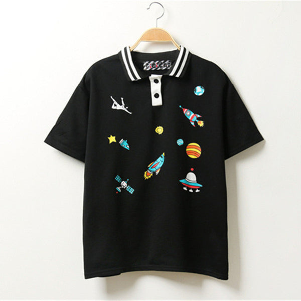 Women Harajuku Cute Pink T Shirt Kawaii CartoonTee Tops 2016 Summer Ladies Fashion Basic Character Loose Cotton Casual T-shirt-Women's Shirts-Enso Store-Black Available-One Size-Enso Store