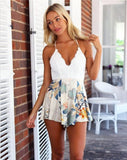 Women Lace Floral Striped Playsuit Skirt Shorts Sexy Jumpsuit macacao feminino Summer Style vestido Romper bodysuit roupas monos-Enso Store-floral print-S-Enso Store
