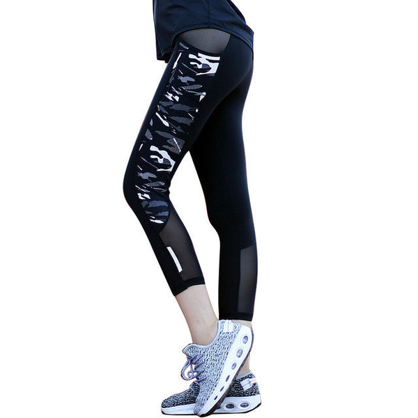 176314642e ... Women Running Compression Tights Mesh Patchwork Camouflage Running Yoga  Pants Reflective Sexy Fitness Capris with Zipper