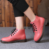 women shoes patent leather lace-up ankle boots cow muscle sole spring and autumn ladies fashion Martin boots red and black - EnsoStore
