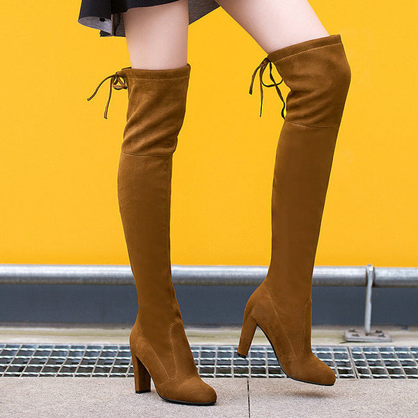 7f1f9958995c08 ... Women Stretch Faux Suede Thigh High Boots Sexy Fashion Over the Knee  Boots High Heels Woman ...