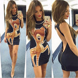 Women Summer Dresses 2017 Sexy Micky Heart Cartoon Print Bodycon Pencil Dress Woman Party Club Milk Silk Mini Dress Robe Vestido - EnsoStore