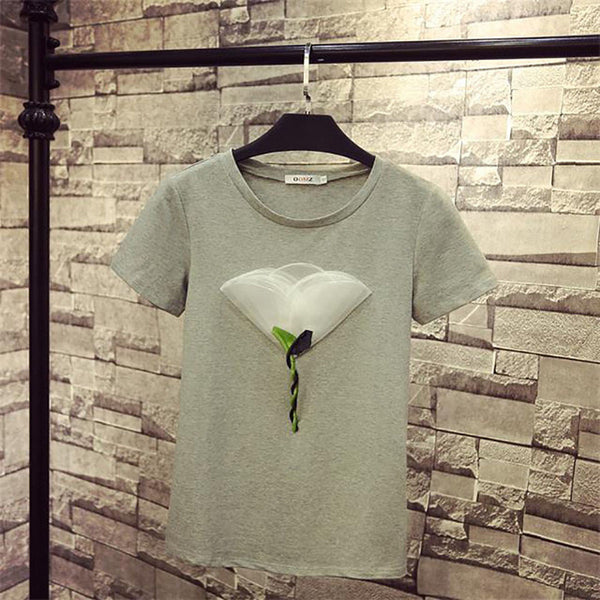 Women Summer Short Sleeve O-Neck T Shirt New Arrival Mesh Flower T-shirt Korean Version Female Casual T Shirts Hot Style 62272 - EnsoStore