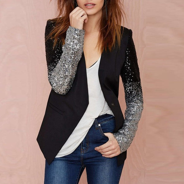 Women Thin Jacket Coat 2017 Spring Autumn Long Sleeve Lapel Fashion Silver Black Sequin Elegant Slim Work Blazers Suit feminino - EnsoStore
