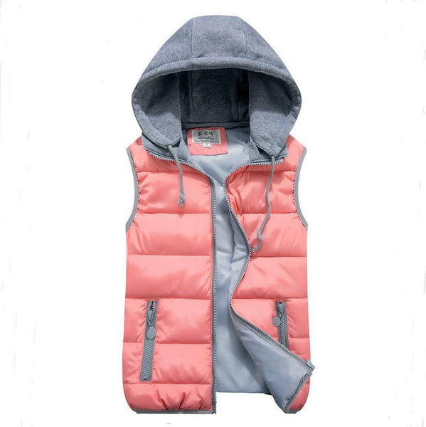 50737d2db816fd women's cotton wool collar hooded down vest Removable hat Hot high quality  Brand New female winter warm Jacket&Outerwear Thicken