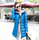 Women's Jacket Winter 2017 New Medium-Long Cotton Parka Plus Size Coat Slim Ladies Casual Clothing Hot Sale-Enso Store-blue-XS-Enso Store