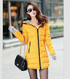 Women's Jacket Winter 2017 New Medium-Long Cotton Parka Plus Size Coat Slim Ladies Casual Clothing Hot Sale-Enso Store-orange-XS-Enso Store