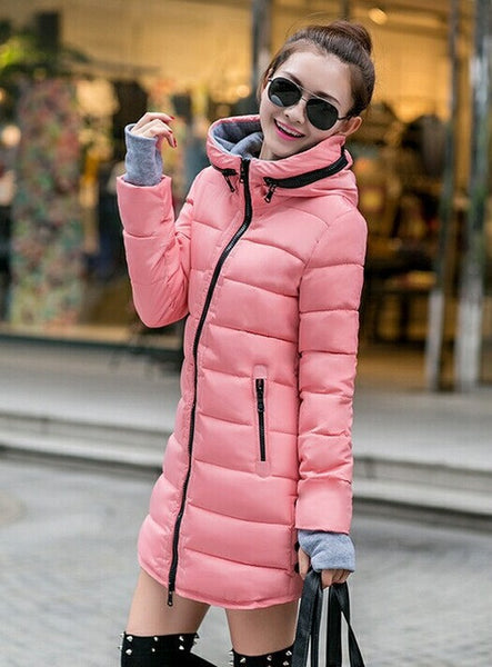Women's Jacket Winter 2017 New Medium-Long Cotton Parka Plus Size Coat Slim Ladies Casual Clothing Hot Sale-Enso Store-pink-XS-Enso Store