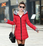 Women's Jacket Winter 2017 New Medium-Long Cotton Parka Plus Size Coat Slim Ladies Casual Clothing Hot Sale-Enso Store-red-XS-Enso Store