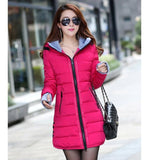 Women's Jacket Winter 2017 New Medium-Long Cotton Parka Plus Size Coat Slim Ladies Casual Clothing Hot Sale-Enso Store-rose red-XS-Enso Store