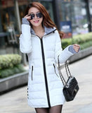 Women's Jacket Winter 2017 New Medium-Long Cotton Parka Plus Size Coat Slim Ladies Casual Clothing Hot Sale-Enso Store-white-XS-Enso Store