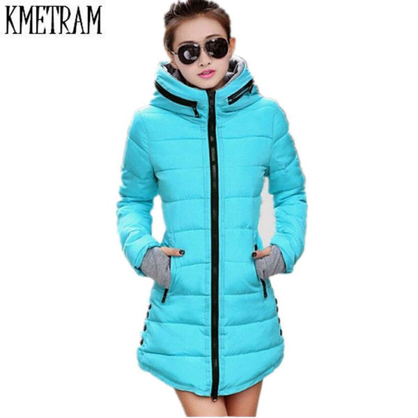 Women's Winter Jacket 2017 New Medium-long Down Cotton Female Parkas Plus Size Winter Coat Women Slim Ladies Jackets And Coats-Enso Store-Pink-S-Enso Store