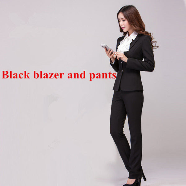 Work wear women's pants suit autumn winter long-sleeve Two buttons blazer with Trousers OL Office ladies formal suits Navy black-Enso Store-Black coat and pants-S-Enso Store