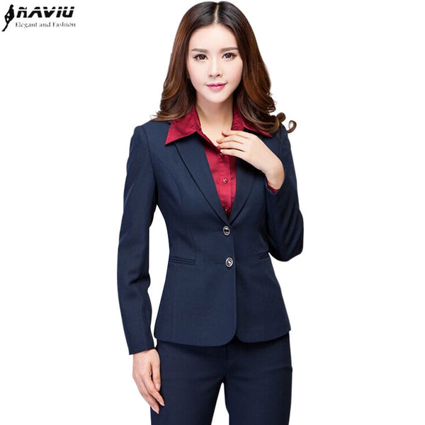 d404b5d1b84 Work wear women's pants suit autumn winter long-sleeve Two buttons blazer  with Trousers OL Office ladies formal suits Navy black