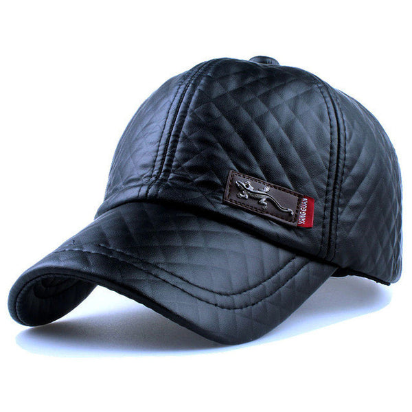 Xthree New fashion high quality faux leather Cap fall winter hat casual snapback baseball cap for men women hat wholesale-Team Sports-Enso Store-black-adjusbatle-Enso Store