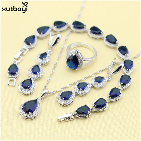 XUTAAYI Top Quality 925 Silver Jewelry Sets Blue Created Sapphired Flawless Necklace/Rings/Earrings/Bracelet For women-Jewelry Sets & More-Enso Store-4PCS-Blue-9-Enso Store
