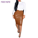 XXL Hot Sale Women Soft PU Leather Skirt High Waist Slim Hip Pencil Skirts Vintage Bodycon OL Midi Skirt Sexy Clubwear Plus Size-Women's Bottoms-Enso Store-Black-L-Enso Store