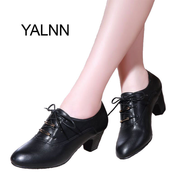 YALNN Women Leather High Heel Pumps Shoes for Women Spring Autumn Office Lady Med Heels Shoes Women Pumps-Women's Pumps-Enso Store-Black-4-Enso Store