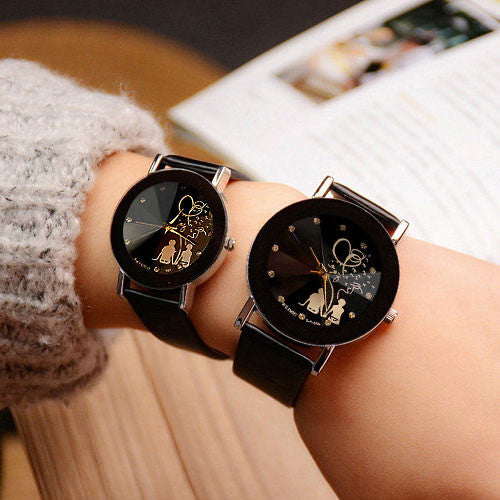 pu dial round with hers woman index watches and for black band style his simple analog womage
