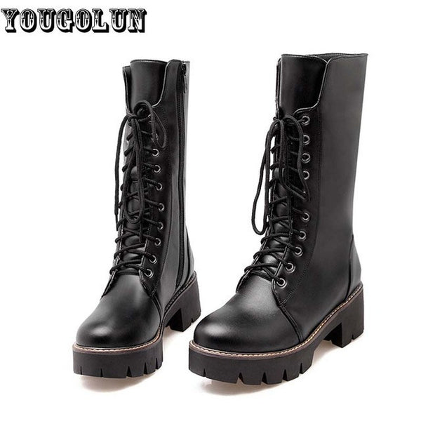 YOUGOLUN Winter Women Mid-Calf Snow Boots Fashion Square Heels(5cm)Boots Woman Lace up Black White Round toe Warm Platform Shoes - EnsoStore