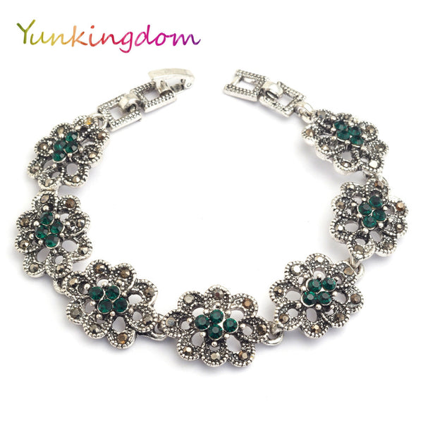 Yunkingdom Bohemian ethnic style jewelry silver color bracelets for women green resin bijouterie bracelets & bangles K1796 - EnsoStore