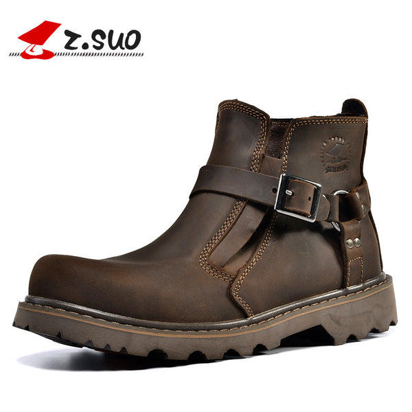 Z. Suo men's boots,head layer cowhide boots,tooling buckles set mouth boots male restoring ancient ways botas hombre zs337-Men's Boots-Enso Store-Dark brown-7-Enso Store