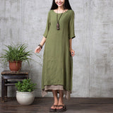 ZANZEA Fashion Cotton Linen Vintage Dress 2017 Summer Autumn Women Casual Loose Boho Long Maxi Dresses Vestidos Plus Size-Women's Dresses-EnsoStore-ArmyGreen-S-Enso Store