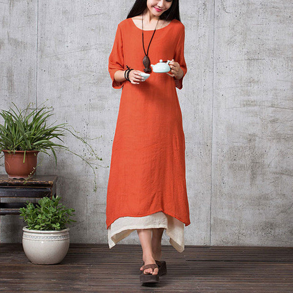 ZANZEA Fashion Cotton Linen Vintage Dress 2017 Summer Autumn Women Casual Loose Boho Long Maxi Dresses Vestidos Plus Size-Women's Dresses-EnsoStore-Orange-S-Enso Store