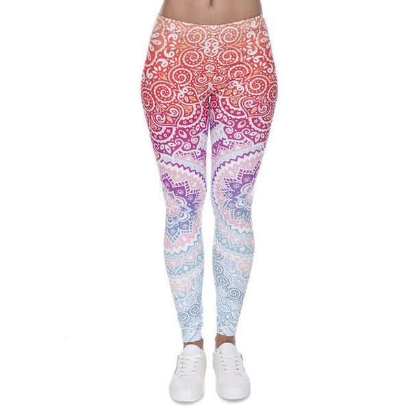 Zohra Brands Women Fashion Legging Aztec Round Ombre Printing leggins Slim High Waist Leggings Woman Pants-Women's Bottoms-Enso Store-lga40538-One Size-Enso Store
