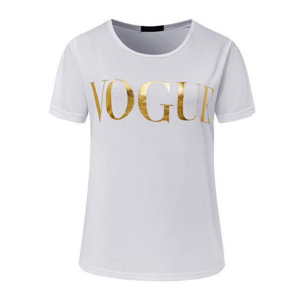 ZSIIBO VOGUE Printed Glod Shining Letter T-shirt Women Simple Casual Short Sleeve Femme O-Neck Tops 5 Colors KaTx08-Enso Store-White-XXL-Enso Store