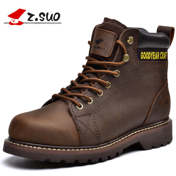 Z.Suo men's boots. Leather mens boots, high-quality tooling retro fashion casual boots man botas hombre zsgty16008-Men's Boots-Enso Store-Black-7-Enso Store